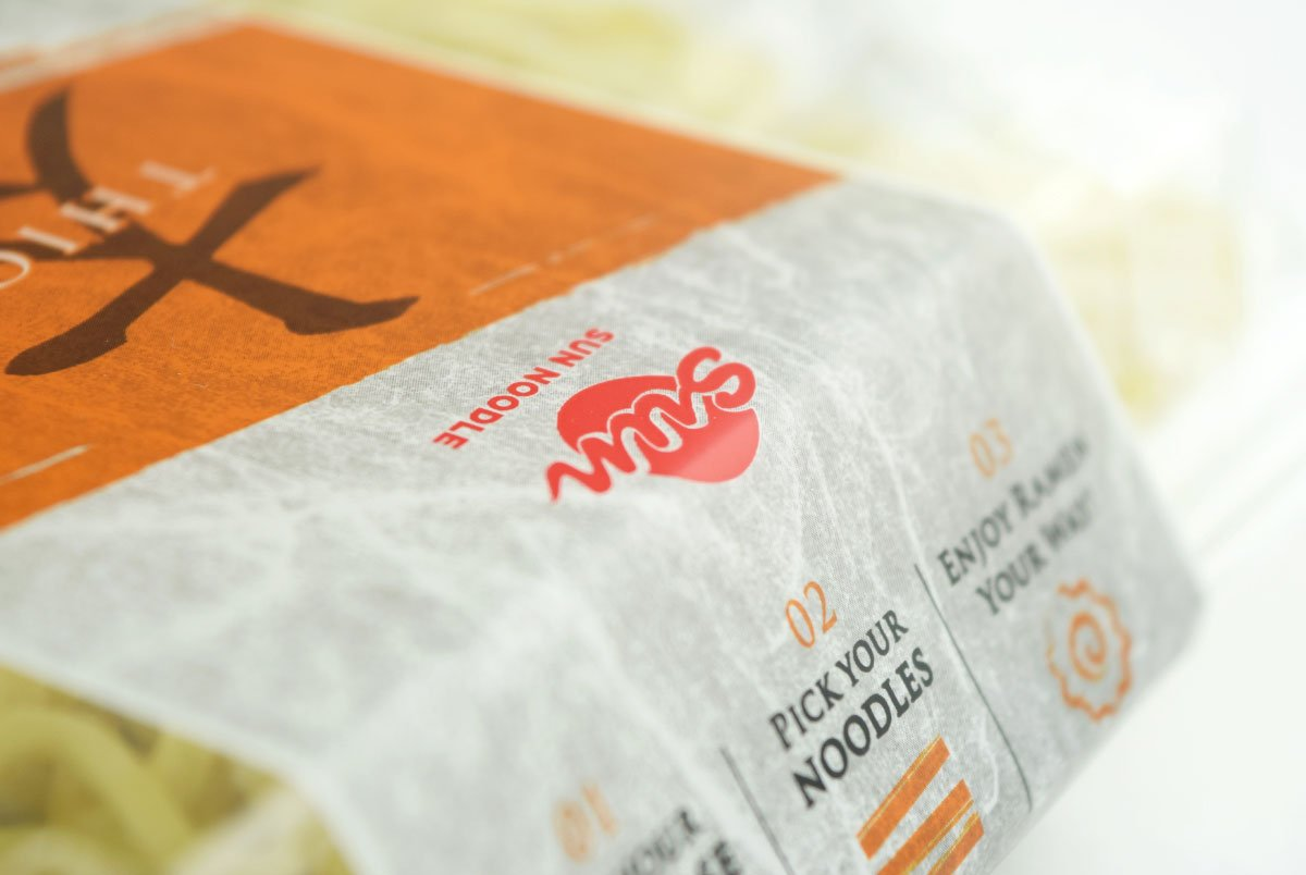 closeup of Sun Noodle packaging