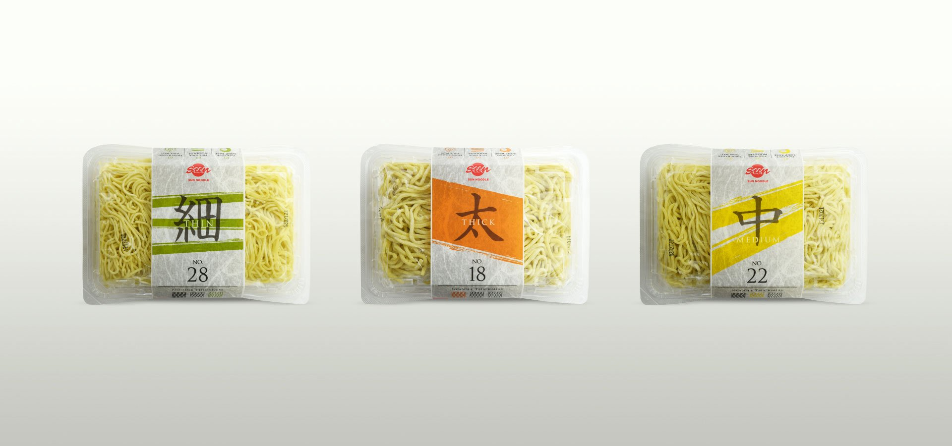 Sun Noodle 3 different thickness noodles