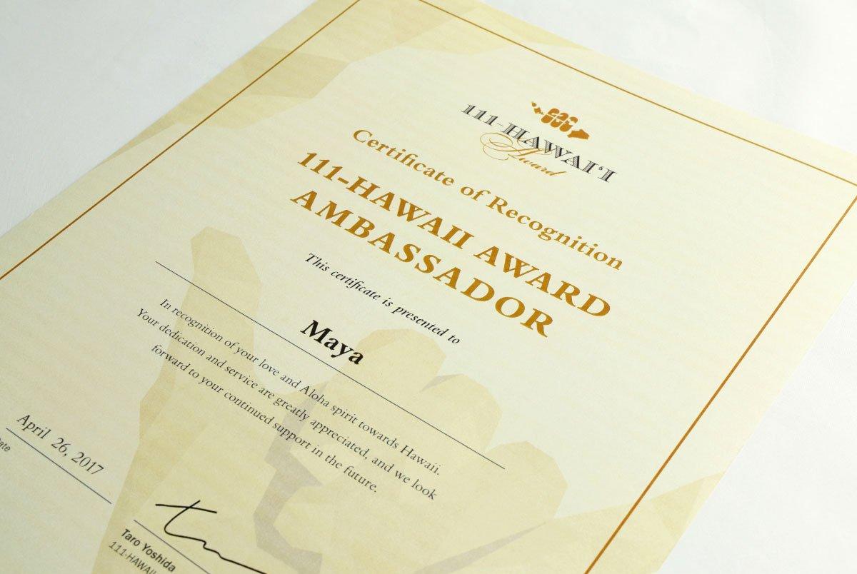 111-Hawaii Award Ambassador Certificate