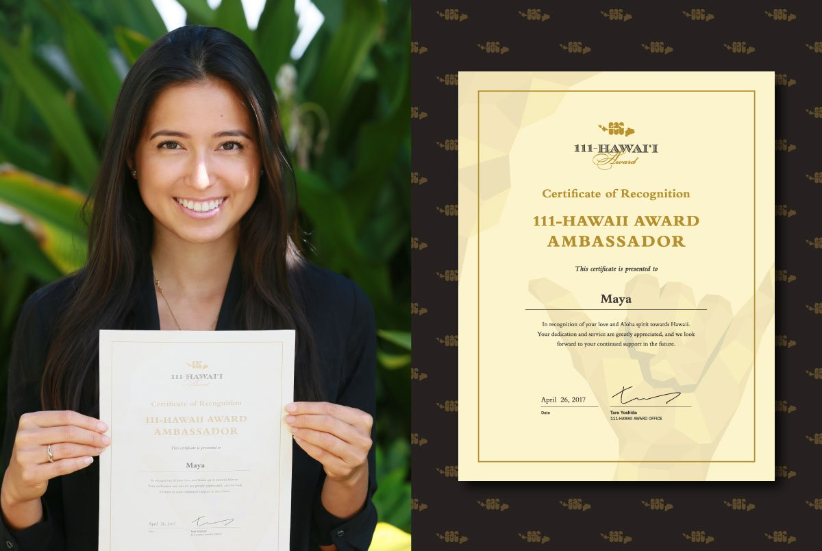 111-Hawaii Award Host With Her Ambassador Certificate